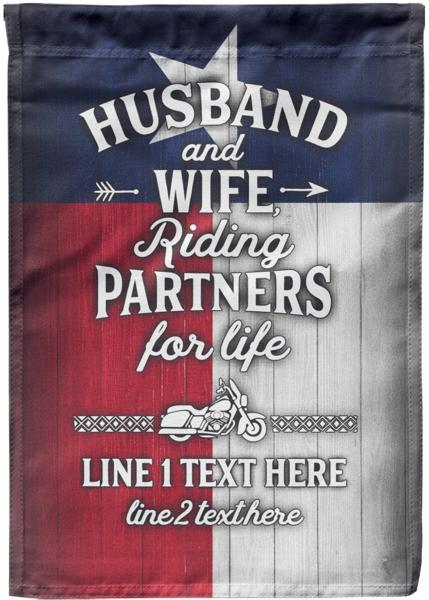 Husband and Wife Riding Partners for Life TEXAS Flag
