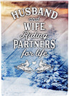Husband and Wife Snowmobiling Partners for Life - personalized camping sign