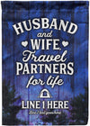 Husband and Wife - Travel Partners for Life - personalized camping sign