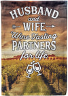 Husband and Wife Wine Tasting Partners for Life Personalized Flag - personalized camping sign