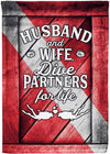 Husband & Wife Dive Partners for Life Personalized Flag - personalized camping sign