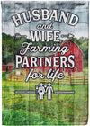 Husband & Wife Farming Partners for Life Flag - personalized camping sign
