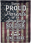 Proud Parents of an Amazing Soldier Personalized Flag - personalized camping sign