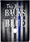 This House Backs The Blue - Personalized Blue Line Flag - personalized camping sign