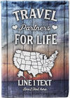 Travel Partners For Life Map Flag - personalized camping sign