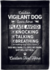 Vigilant Dogs Live Here Personalized Yard Flag - personalized camping sign