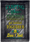 Where Friends and Marshmallows Get Toasted Together Flag - personalized camping sign