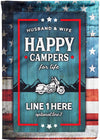 ⛺ Husband and Wife, Happy Campers for Life Personalized Flag