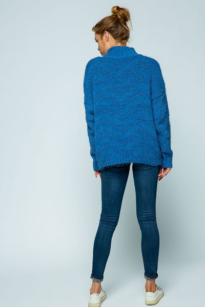 Royal Blue Chunky Chenille ZigZag Pattern Sweater