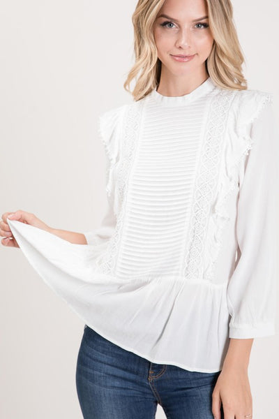 White Pleated Detail Front Ruffle Trim Top