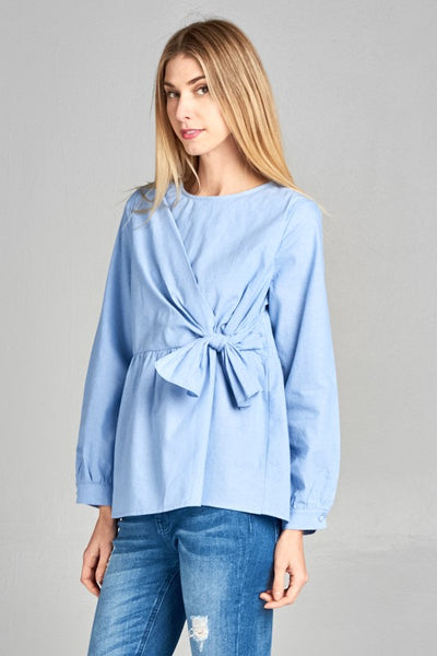 Chambray Fit and Flare Tie Front Babydoll Top