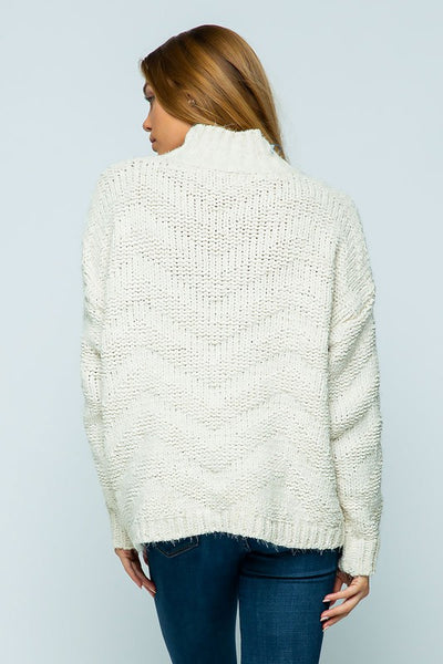 Ivory Chenille Chunky ZigZag Pattern Sweater