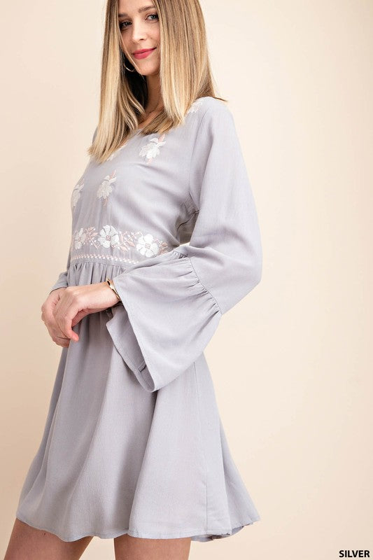 Silver Embroidered Front Ruffle Sleeve Tunic