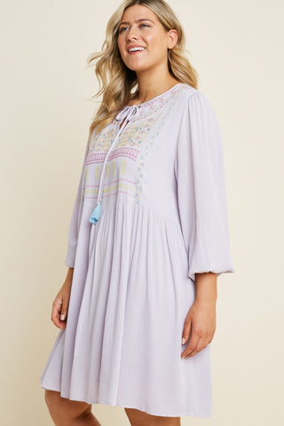 Plus Size Lavender Ebroidered Front Tunic Dress