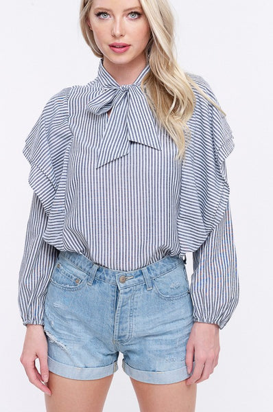 "Blue Stripe Double Layered Ruffle Tie Front ""Sandy""  Blouse Top"