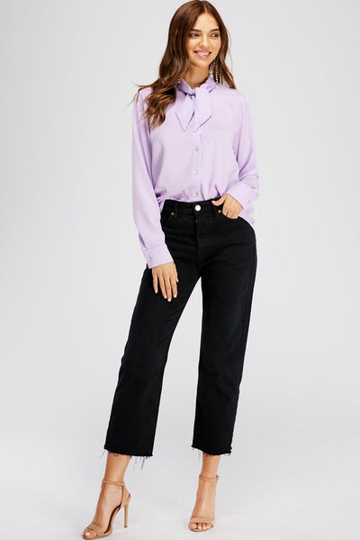 Lilac Button Front Twisted Knot Blouse