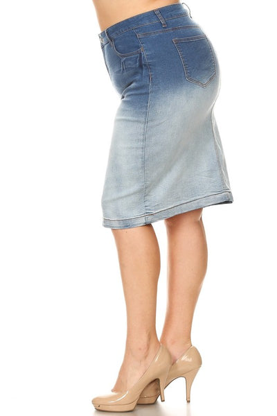 "Plus Size Ombre Wash Denim ""Jody"" Midi Skirt"