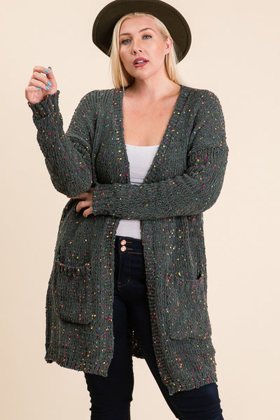 Plus Size Olive Flecked Chenille Open Front Cardigan