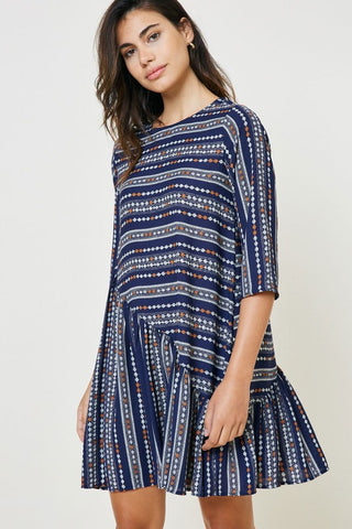 Navy Print Ruffle Tunic Dress