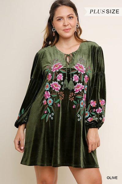 Plus Size Olive Velvet Embroidered Front Tunic