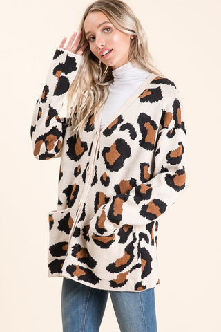 Leopard Animal Print Button Front Cardigan
