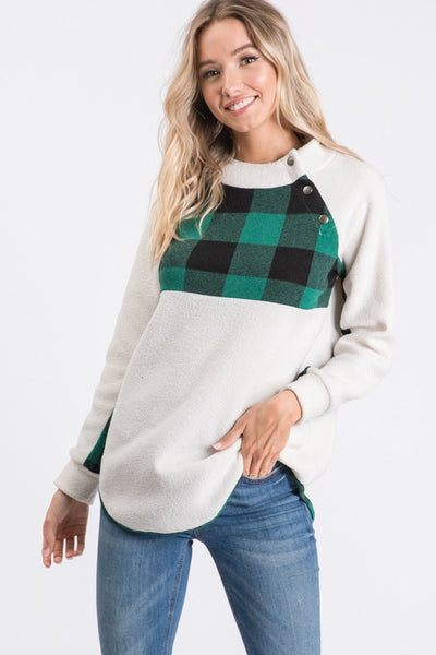 Ivory & Hunter Green Buffalo Plaid Button Front Sweater Top