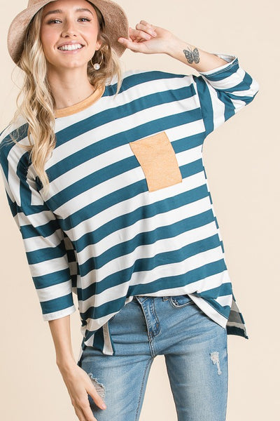 Teal and Mustard Patch Pocket Tee