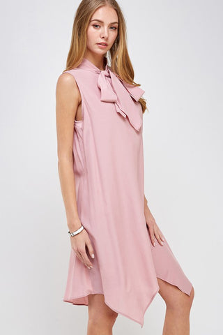 Dusty Pink Tie Neck Sleeveless Tunic Dress