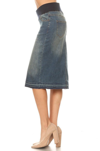 "Vintage Wash Soft Elastic Stretch  ""Nicole"" Denim Midi Skirt"