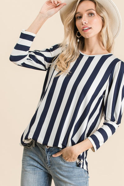 Coral Stripe Bubble Sleeve Top