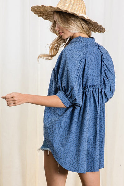 Navy Multi Heart Print Pleated High Low Tunic