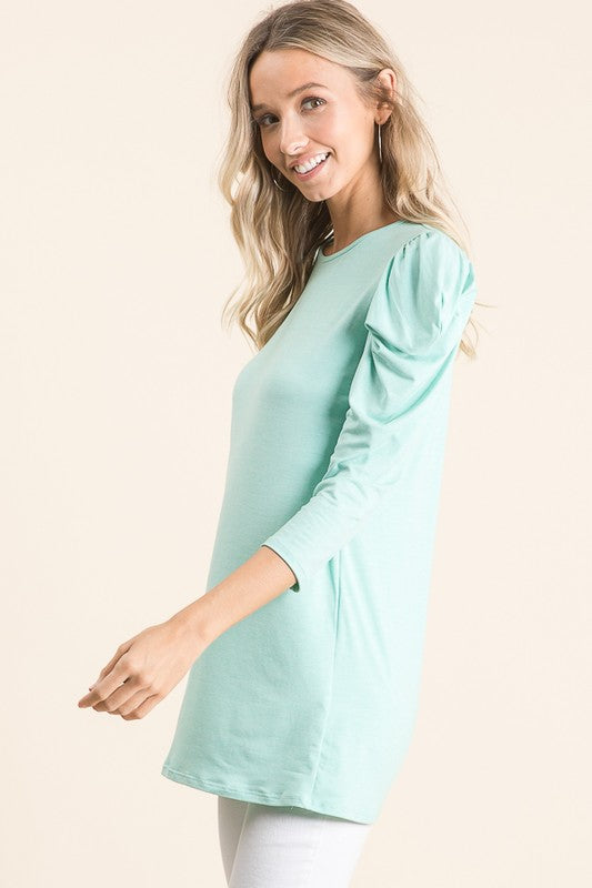 Mint Two Tone Puff Shoulder Top