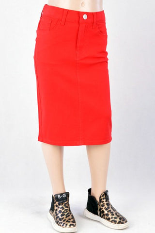 Girls Red Twill Midi Skirt