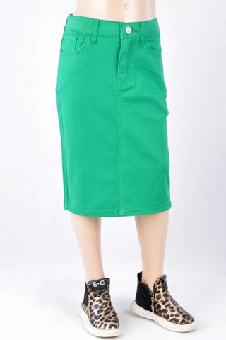 Girls Emerald Green Twill Midi Skirt
