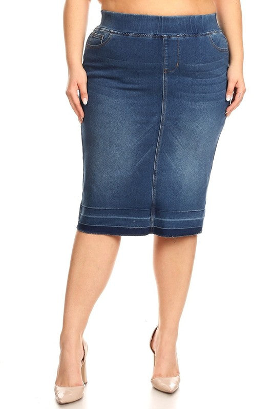 "Plus Size Indigo Wash Elastic Waist ""Vanessa"" Denim Midi Skirt"