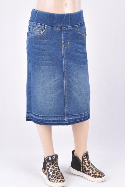 "Girls indigo Wash Denim ""Vanessa "" Midi Skirt"
