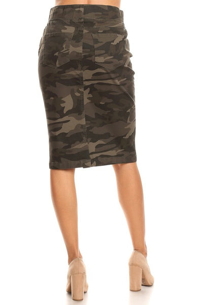 Camo Elastic Waist Stretch Twill Midi Skirt