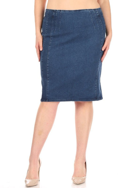 "Plus Size Medium Dark Indigo Wash Flat Front ""Jessa"" Denim Midi Skirt"