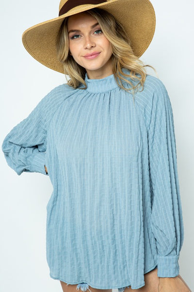 Sky Blue Pleated Woven Blouse Top