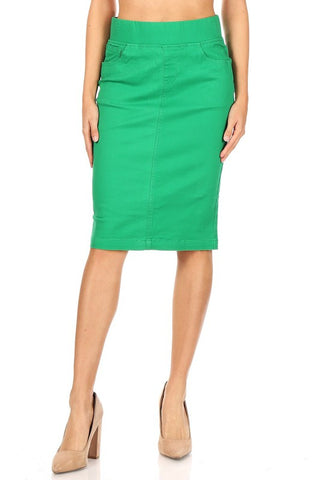 Emerald Green Elastic Waist Stretch Twill Midi Skirt