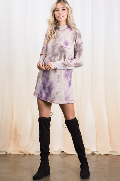 Violet Tie Dye Mock Neck Pocket Tunic