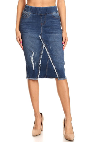 "Indigo Wash Distressed Elasti Waist ""Jess"" Denim Skirt"