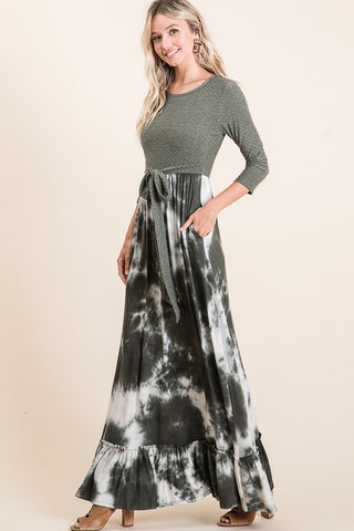 "Olive Tie Dye ""Jennifer"" Maxi Dress"