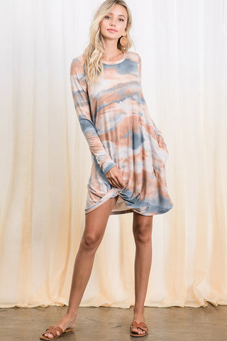 Denim & Terracota Tie Dye Twisted Hem Tunic Dress