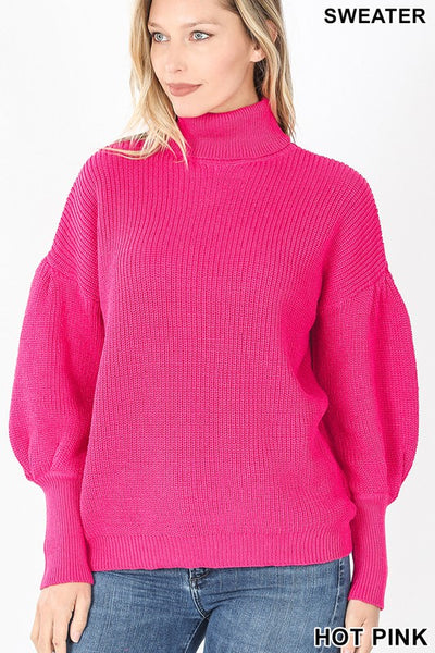 Hot Pink Puff Sleeve Turtleneck Sweater