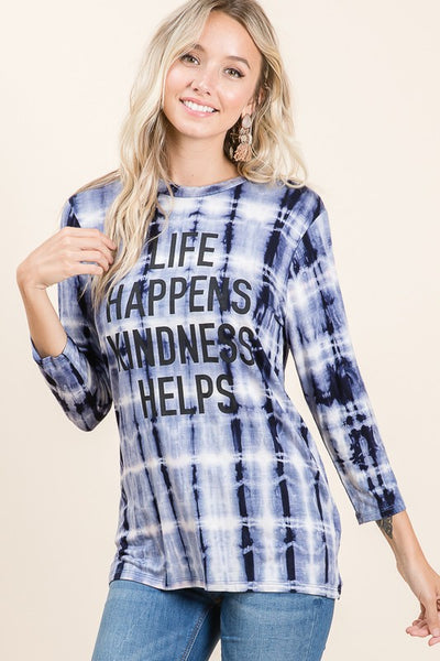 "Black Tie Dye ""Life Happens Kindness Helps"" Top With Mask"