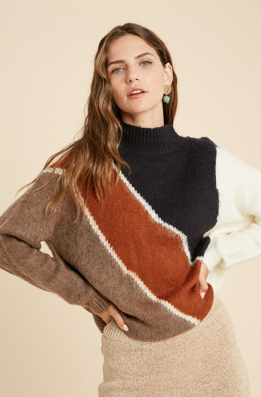 Navy & Rust Brushed Colorblock Mock Neck Sweater