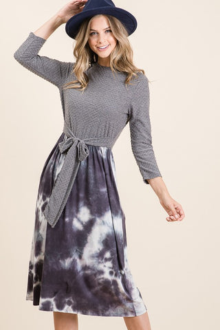 "Black & Gray Tie Dye ""Jennifer"" Midi Dress"
