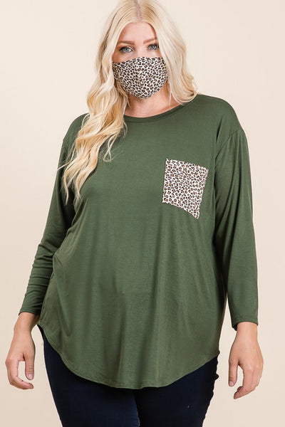 Plus Size Olive & Leopard Top With Matching Face Mask