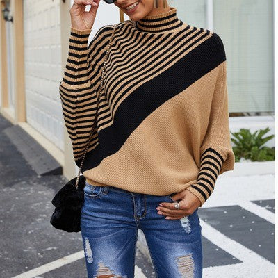 Camel Striped Puff Sleeve Sweater Top